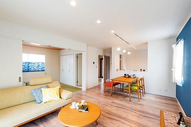 4LDK+屋上庭園 ブルーが美しく映える北欧風住宅