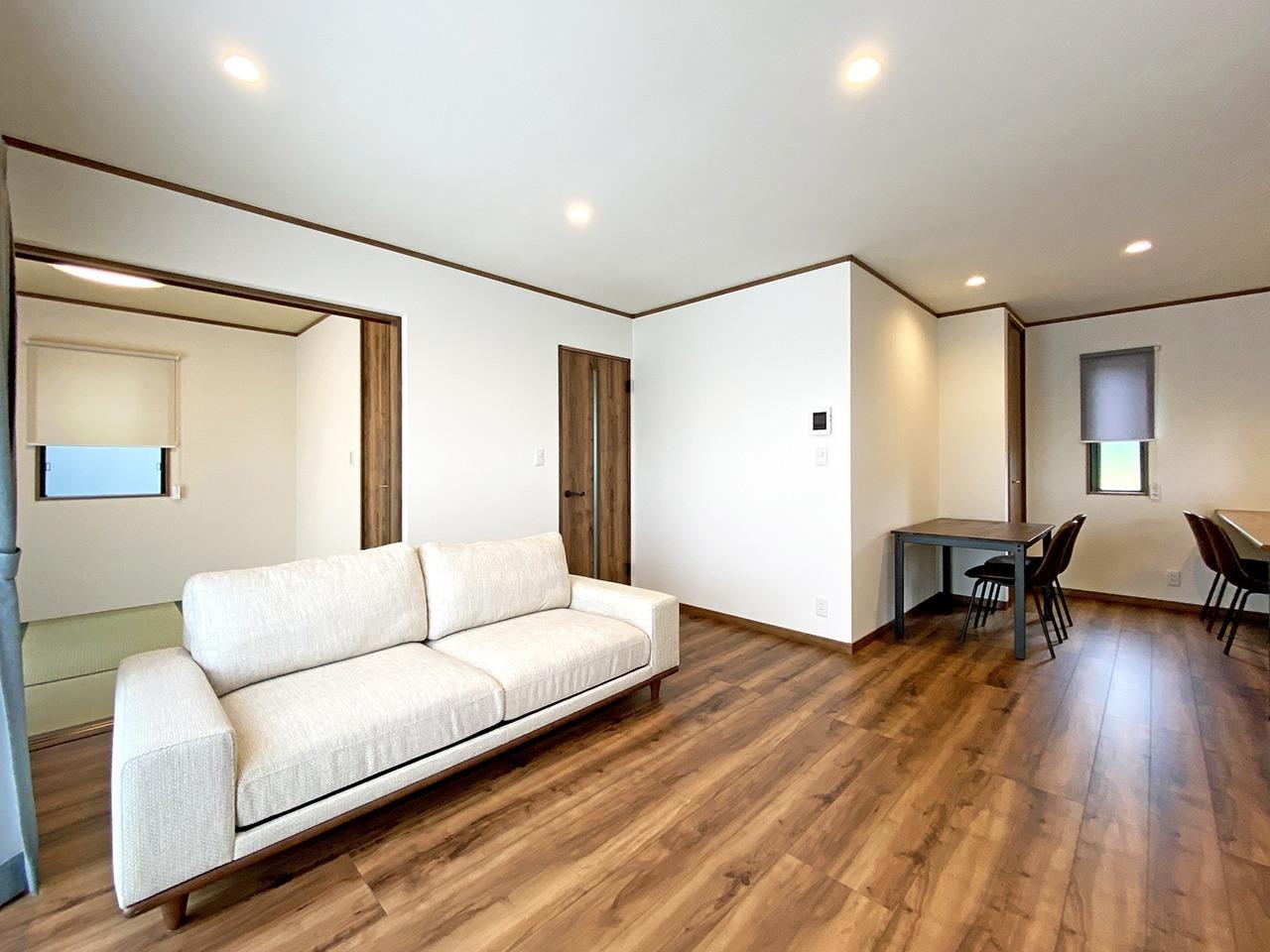 和室とつながる広々リビングのある家@富士宮市